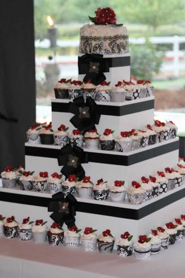 Cupcake Wedding Cakes  Vintage Style Tier Stacked Wedding Cake With     square wedding cake with cupcakes on top photo