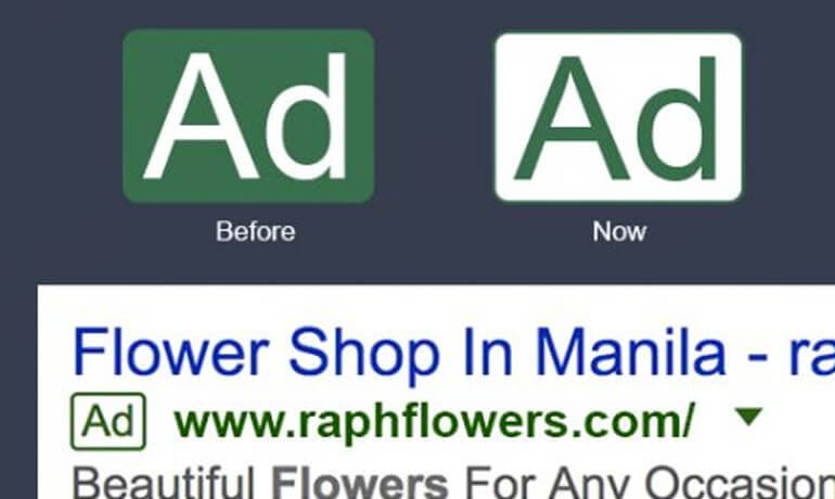 Google Adwords green outlined ad label
