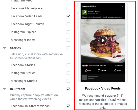 facebook video placements