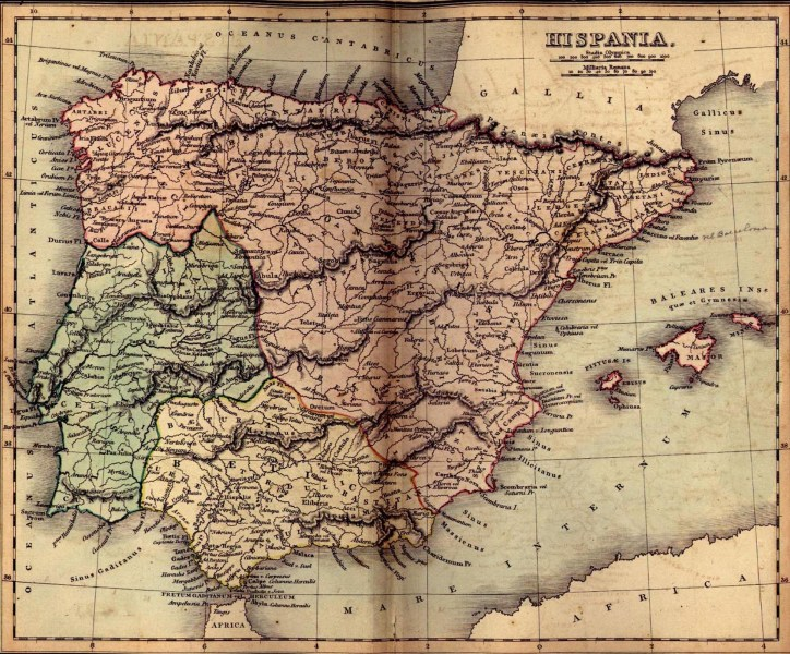 Vintage Map of Ancient Spain  Hispania  Map of Ancient Spain  Hispania