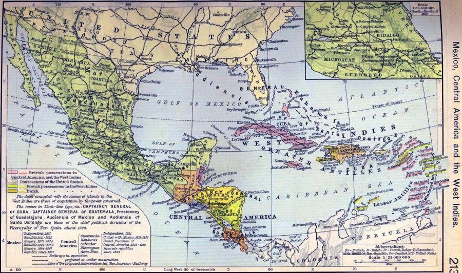 Map of Central America 1790 1911 Map of Mexico  Central America and the West Indies
