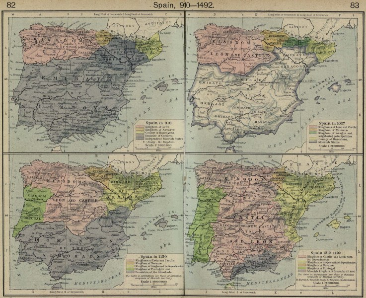 Map of Spain 910 1492 Maps of Spain 910 1492