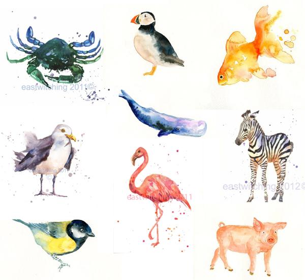 watercolor animal paintings