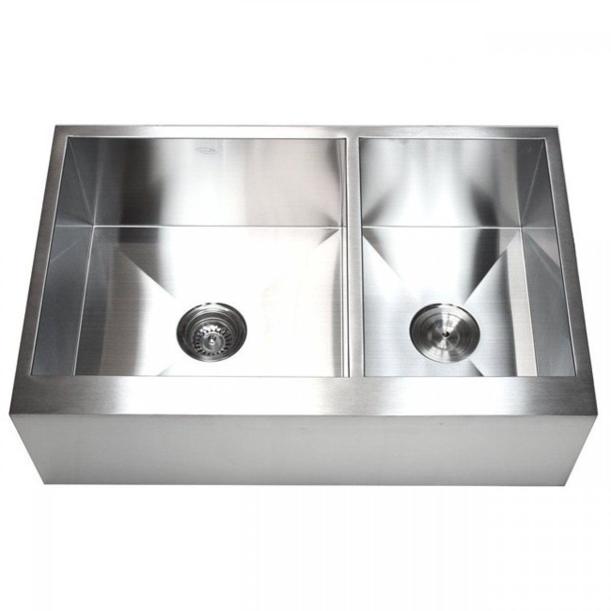 Best Kitchen Gallery: 33 Inch Stainless Steel 6040 Double Bowl Flat Front Farm Apron of Flat Kitchen Sink on cal-ite.com