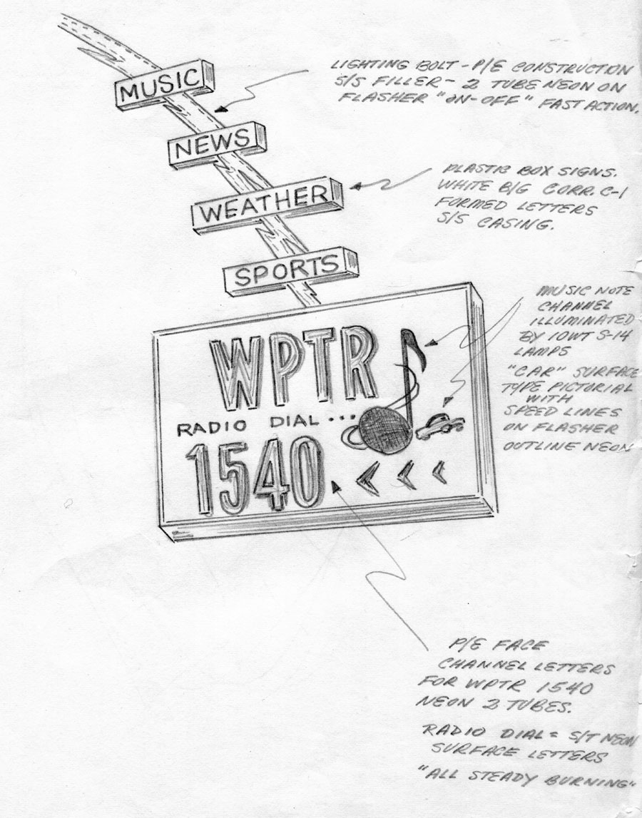 Wptr sign for front of old studio building at 1860 central avenue