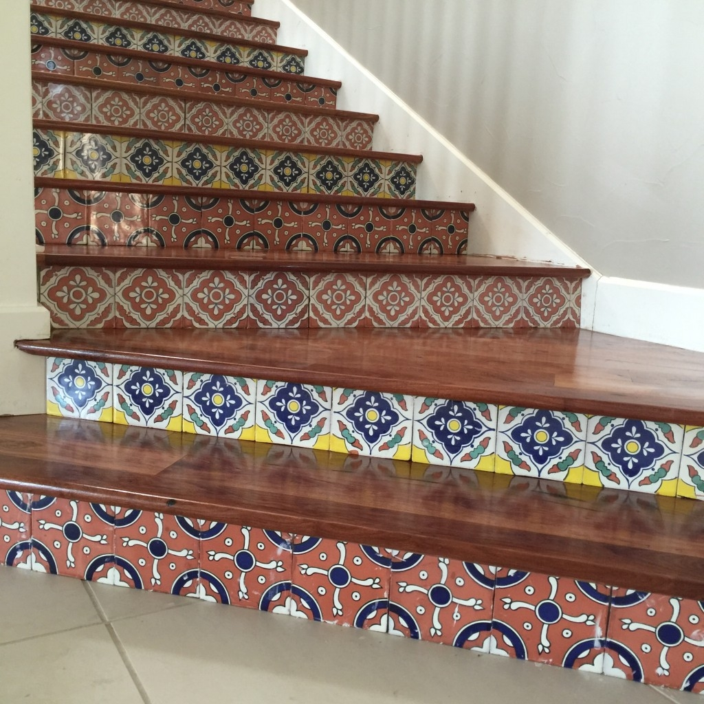 Solid Mesquite Stairs With Tile Risers Epic Flooring | Wood Stairs With Tile Risers | Grey | Diy | Design | Mosaic | Stone