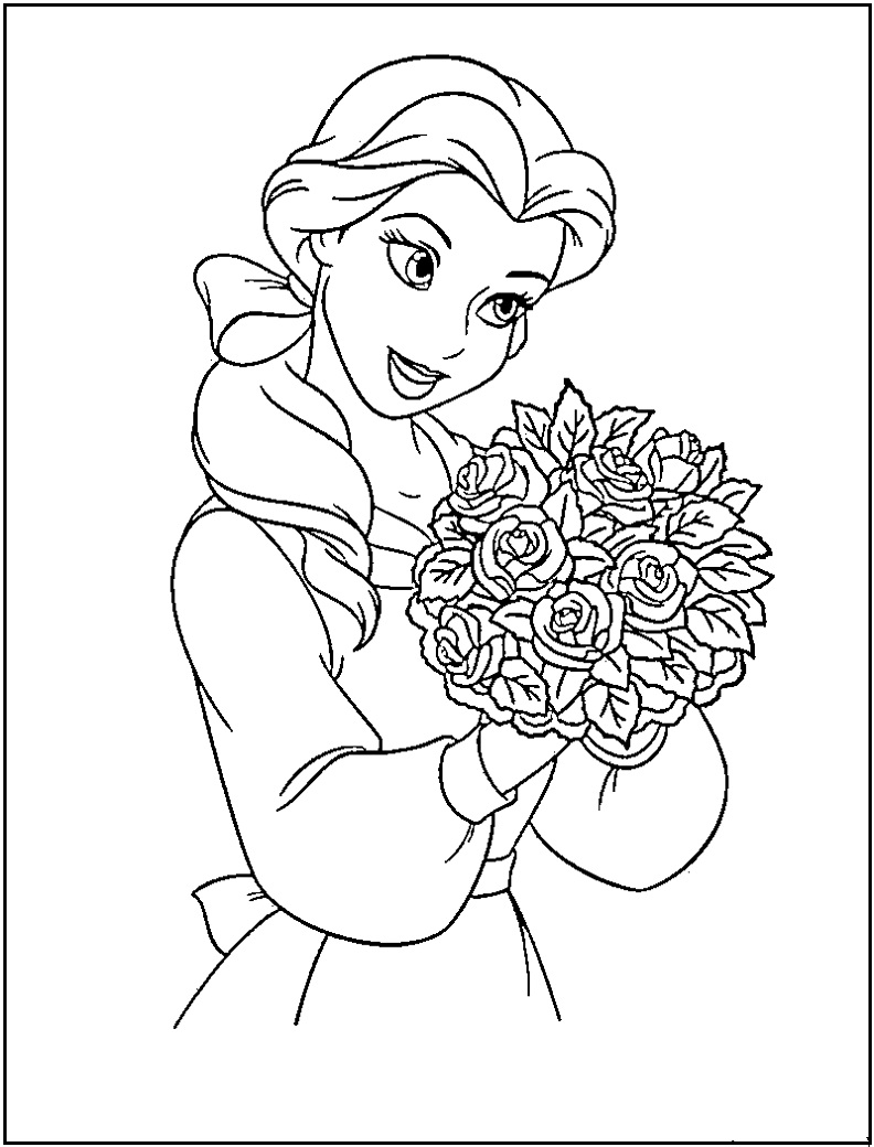 Free Coloring Pages Download Disney Princess Belle Printable For Kids Of