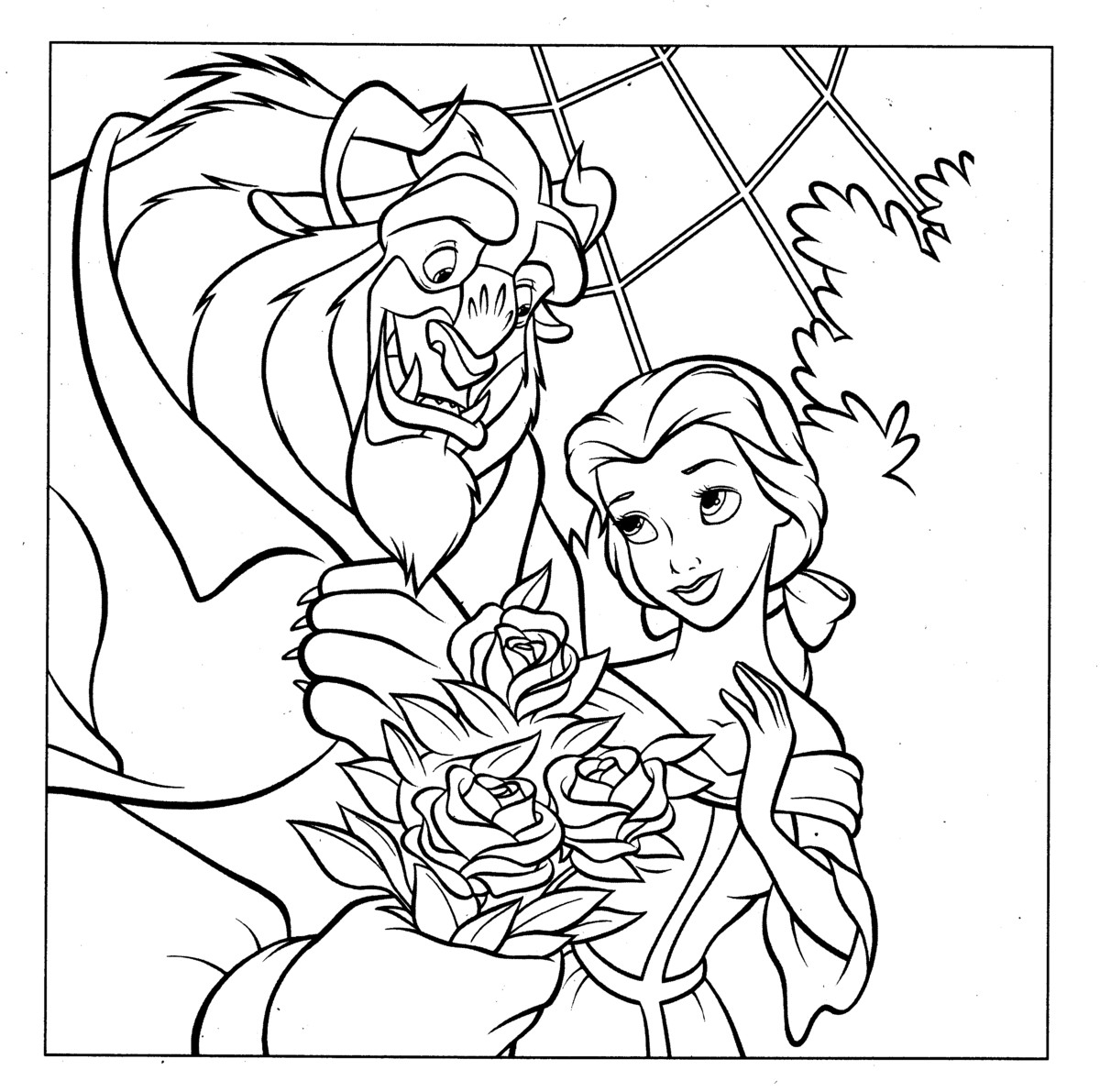 Princess Belle And The Beast Free Printable Coloring Pages For