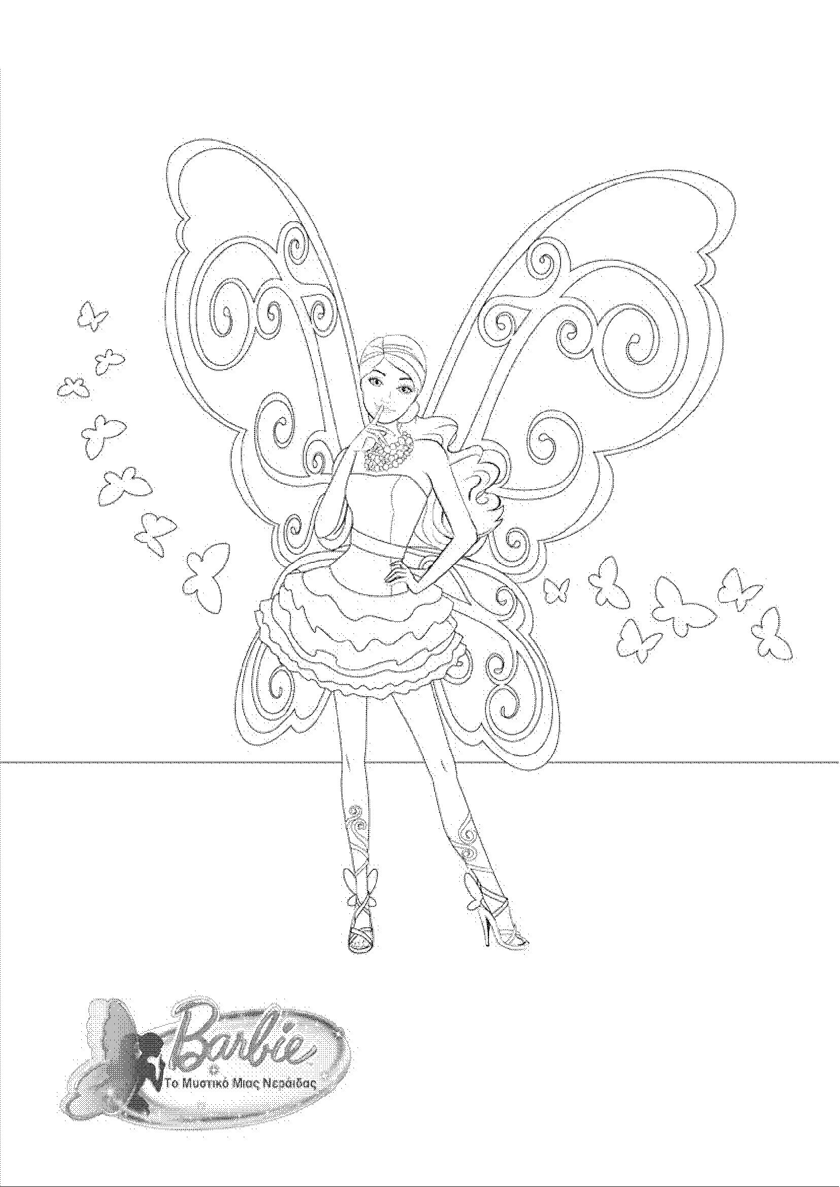 Barbie Mariposa Coloring Pages Fairy Princess Movie 2 Free