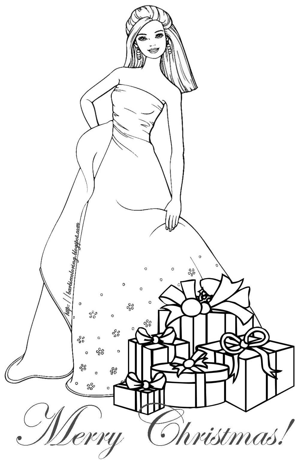 Barbie Coloring Pages Christmas Coloring Pages For Christmas