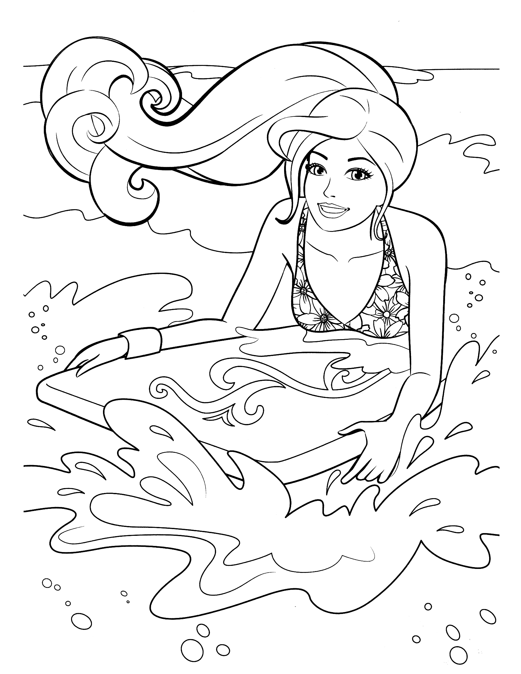 Barbie Surf On Beach Coloring Pages Barbie Coloring Pictures