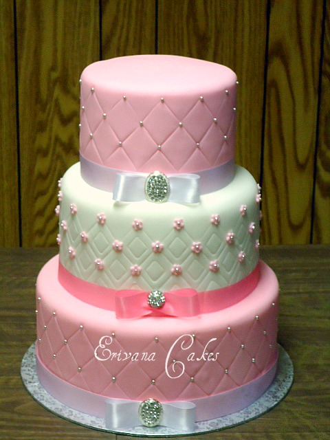 Photo Gallery   Erivana Cakes Pink and White wedding Cake 6  W008