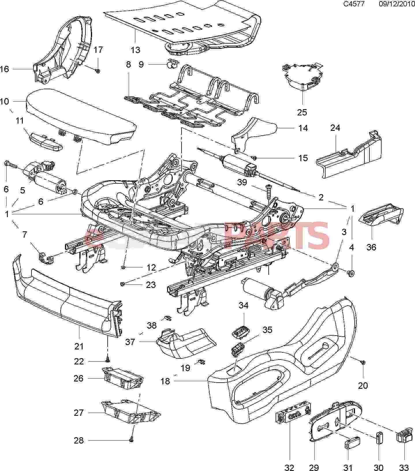 Esaabparts saab 9 4x 168 > car body internal parts > seats breakdown > cushion frame electric 8 way