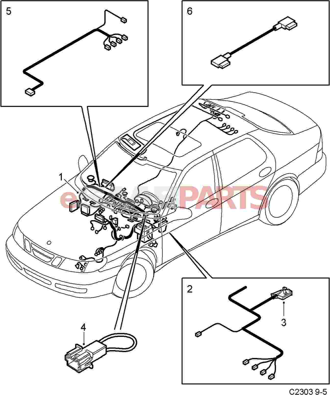 Diagram · esaabparts saab 9 5 9600 electrical parts wiring harness instrument panel