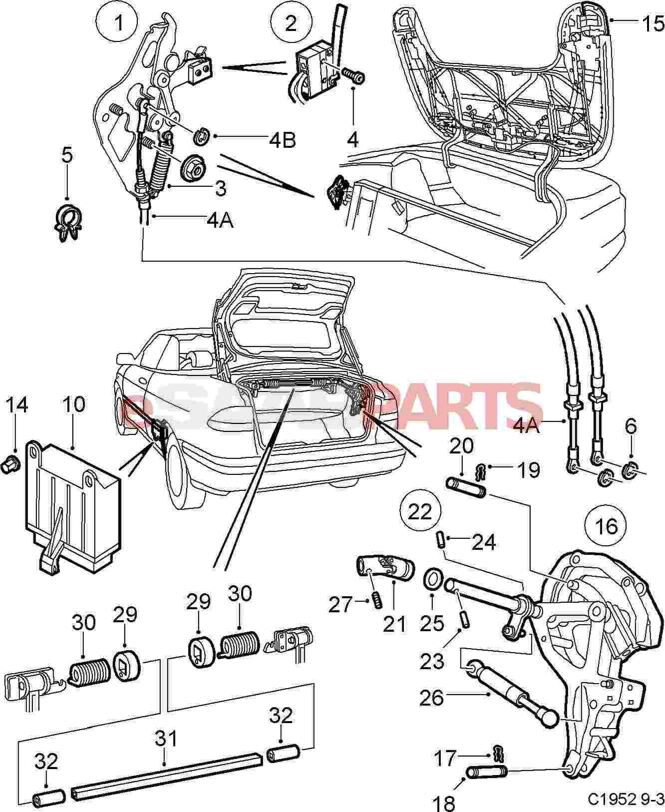 Esaabparts saab 9 3 9400 \u003e car body external parts \u003e convertible parts \u003e tonneau cover part 1 2000 saab convertible top diagram