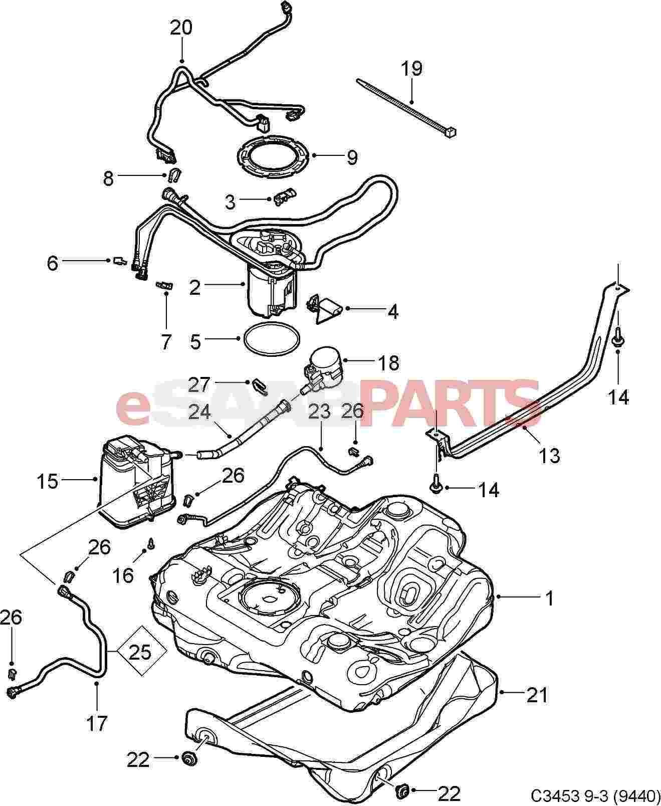 12805467 saab fuel pump 2 0t fwd genuine saab parts from rh esaabparts saab 900 fuel system diagram saab 9 3 fuel system diagram