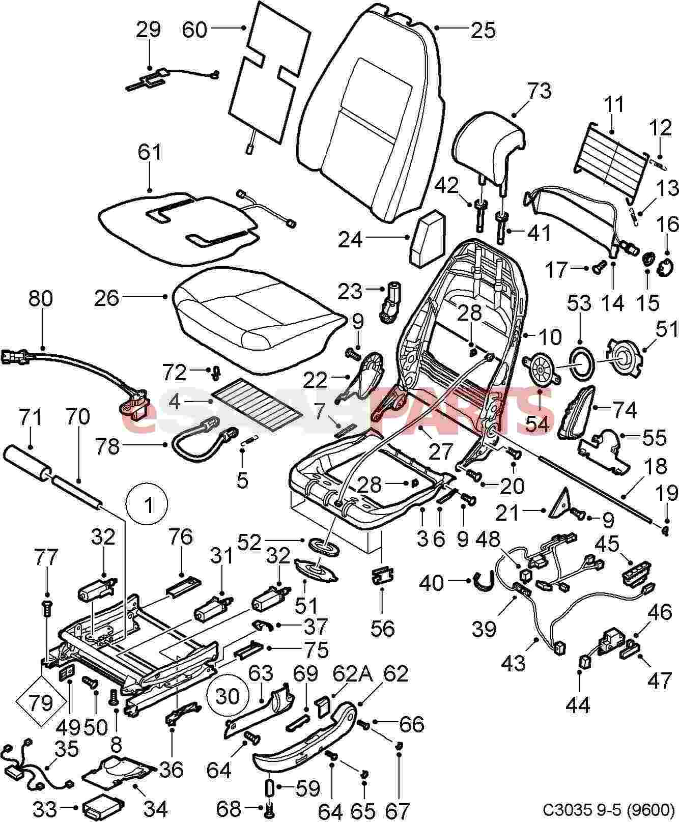 Esaabparts saab 9 5 9600 > car body internal parts > seat assembly front > electric front seats