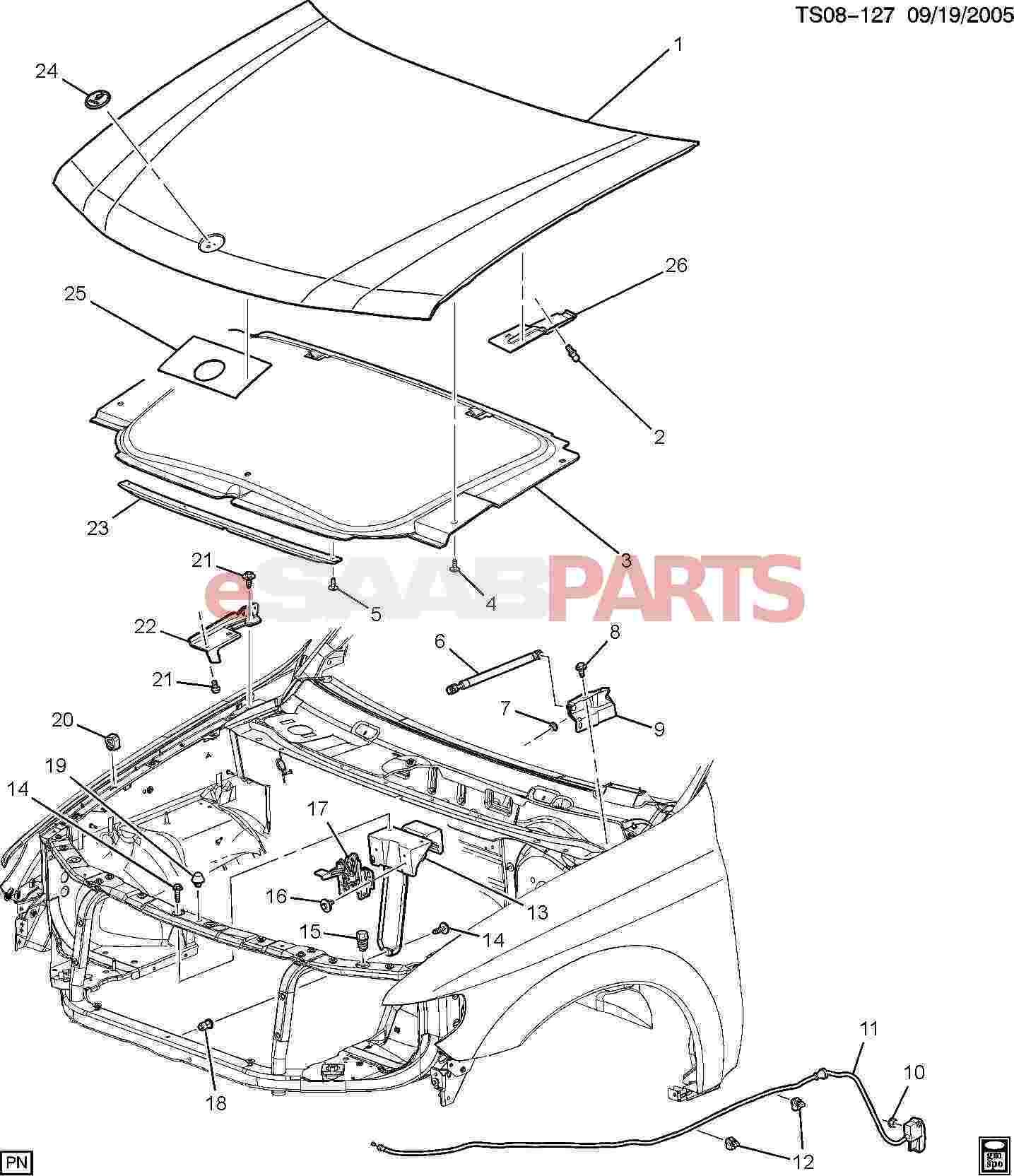 Esaabparts saab 9 7x > car body external parts > hood