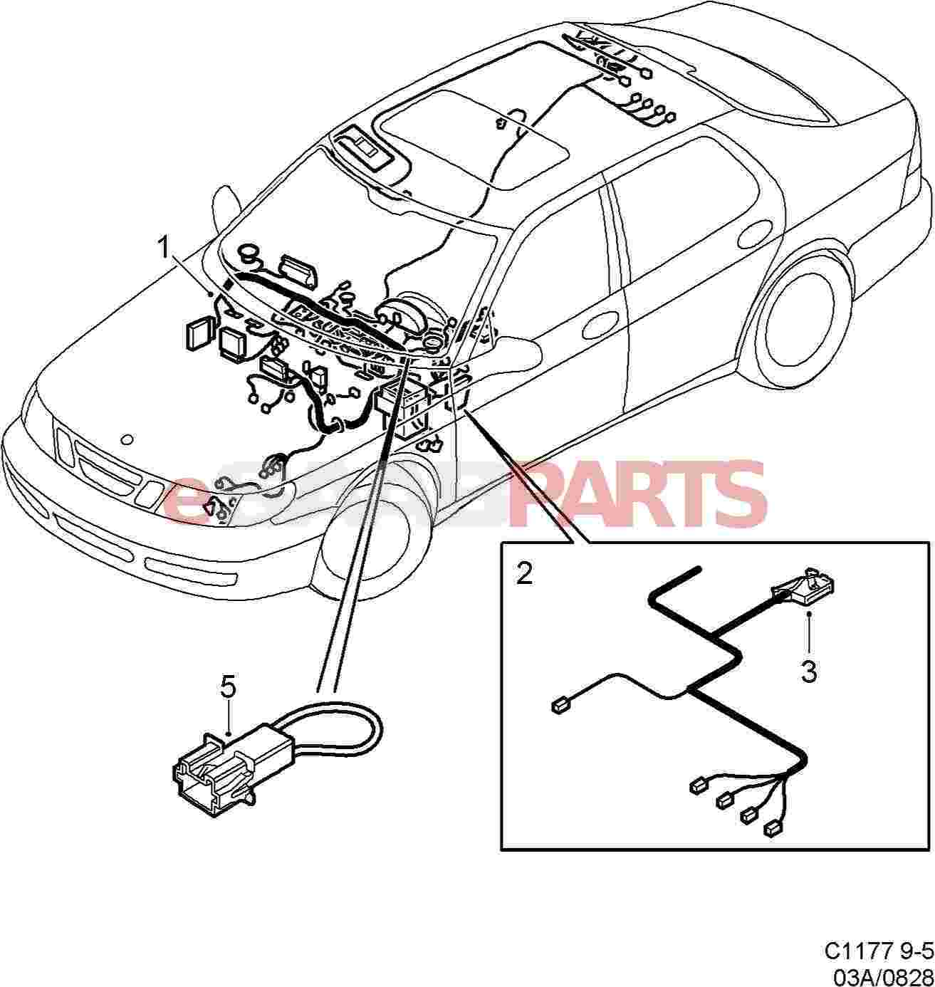 Esaabparts saab 9 5 9600 electrical parts wiring harness instrument panel