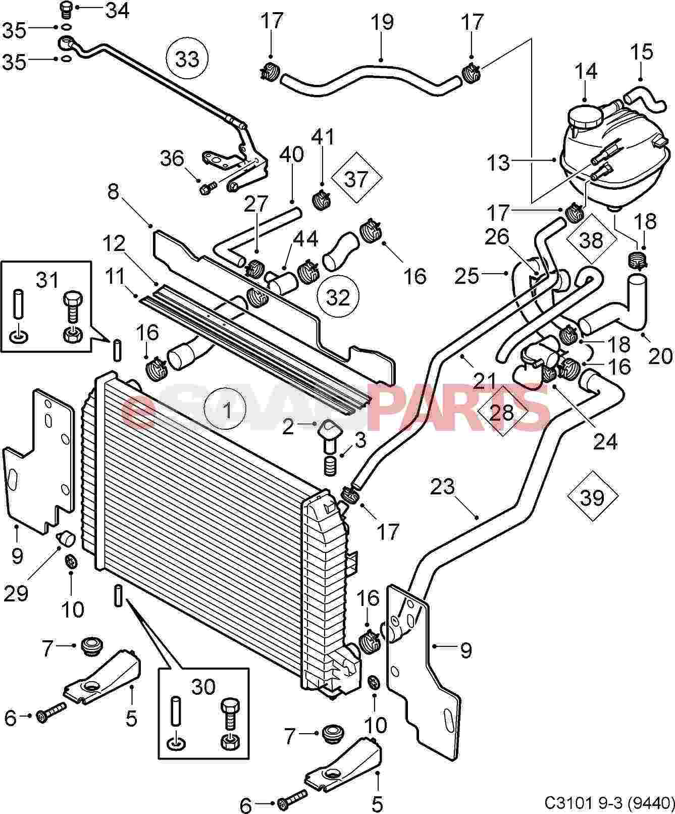 12789871 saab radiator bracket genuine saab parts from esaabparts rh esaabparts car radiator diagram