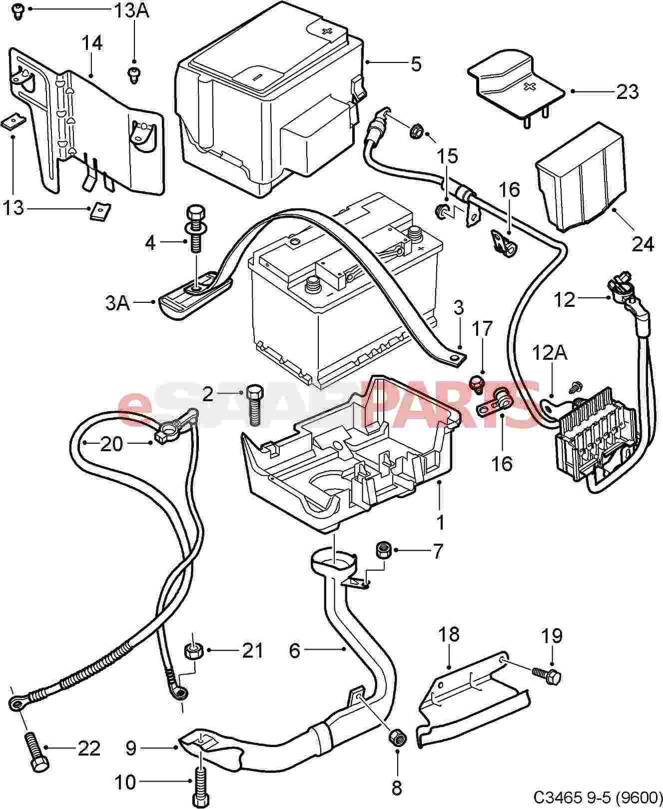 12755254 saab positive battery cable automatic trans 2002 2009 9 rh esaabparts saab 9 5 aftermarket parts diagram of exhaust system 2001 saab 9 5