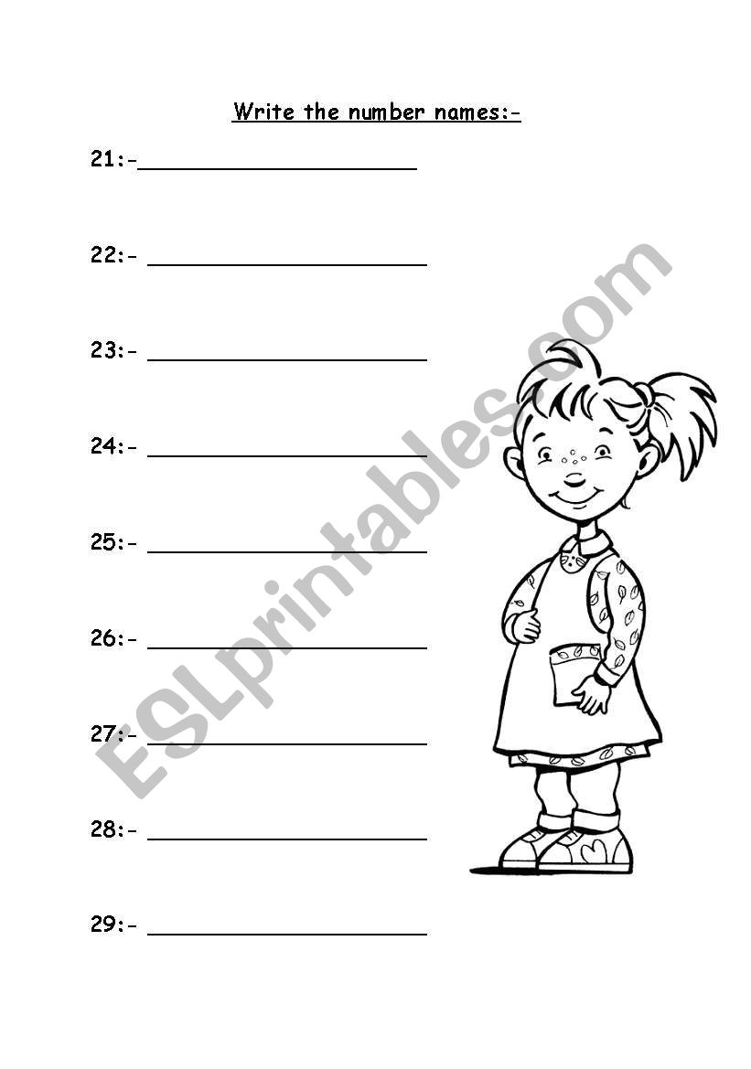 Number names 20 to 29 - ESL worksheet by Miss J.Sabir
