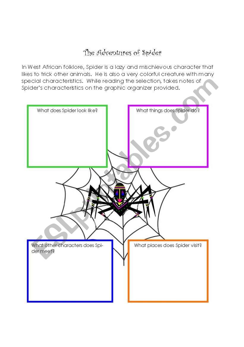 English worksheets: The Adventure of Spider Character traits