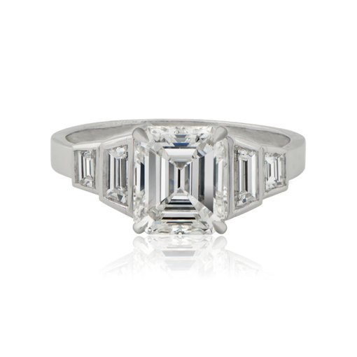 Emerald Cut Diamond Platinum Engagement Ring   EDJ Home    Vintage Engagement Rings    Emerald Cut Diamond Platinum Engagement Ring   Previous