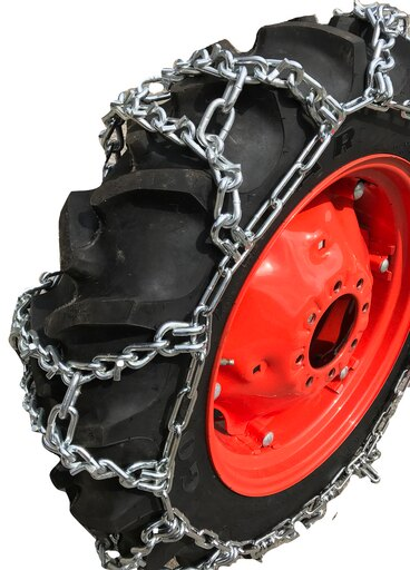 TireChain.com 9.5-28, 9.5 28 Duo Grip Tractor V-BAR Tire Chains -Spring Adjuster