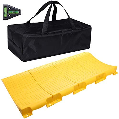 Homeon Wheels Tire Saver Ramps Anti-Slip Pads Design, Car Tire Wheel Ramps for Flat Spot and Flat Tire Prevention, Tire Savers for Storage, Carrying Bag, Easy to Store 4 Pack (WH-400L) Yellow T Level