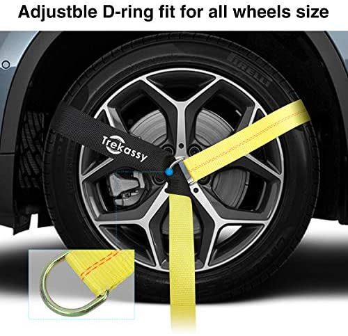 "Trekassy 2""x 120"" Wheel Net Car Tie Down Straps Heavy Duty with Flat Hooks, 3333lbs Safe Working Load, 4 Pack Ratchet for Trailers with 8 Tire Straps, 2 Axle Straps"