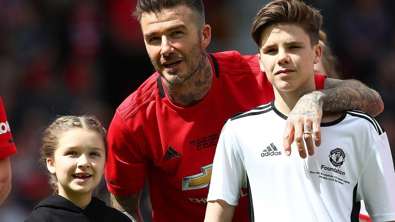 David Beckham's Kids Cheer Him on During Charity Soccer ...
