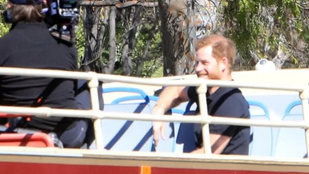 prince harry and james corden all smiles filming on double decker bus in la pic entertainment tonight