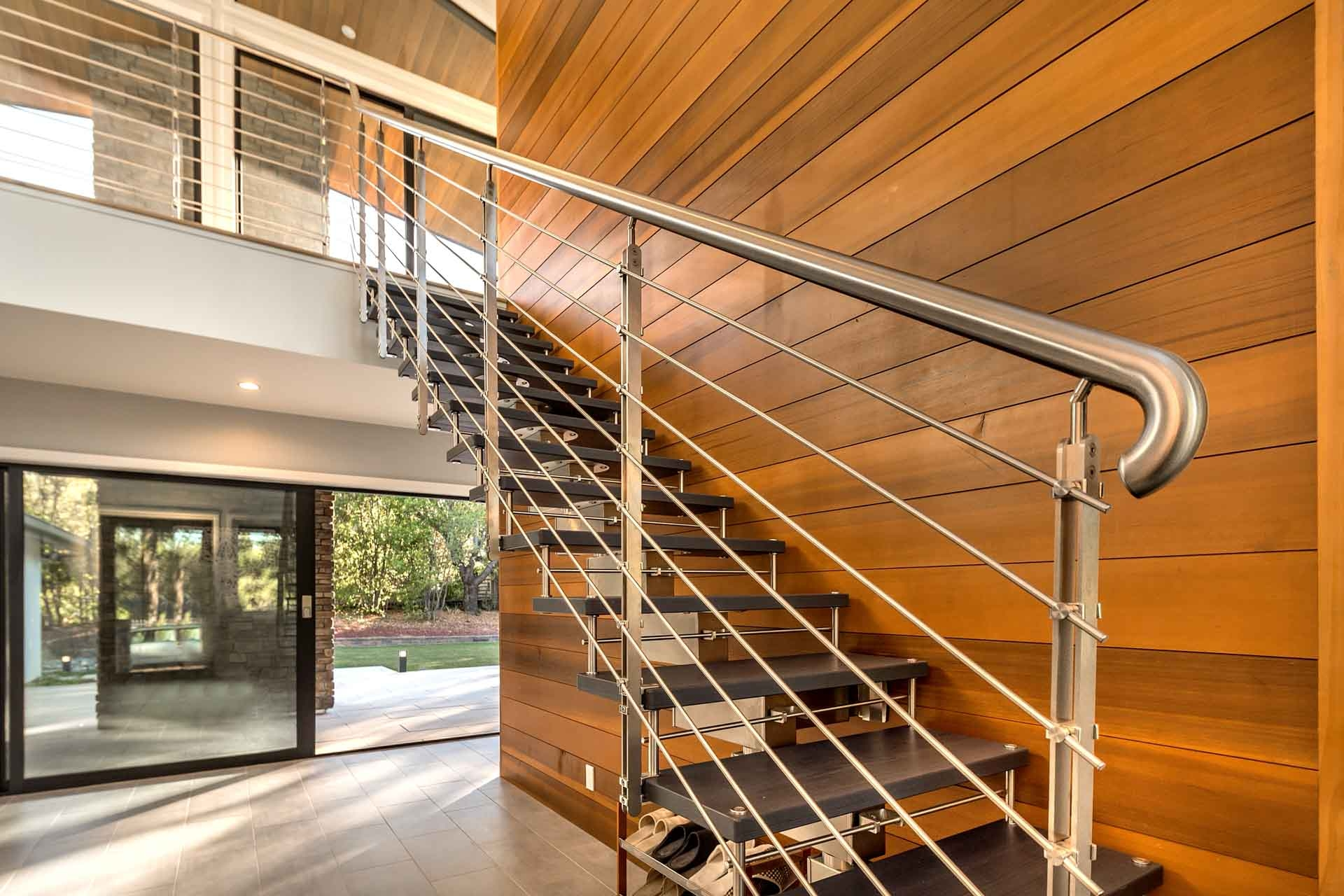 Modern Staircases European Cabinets Design Studios   Modern Banisters And Handrails   Oak   Minimalist Simple Stair   Modern Style   String   Grey