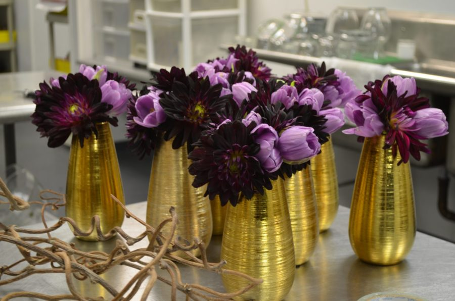 Gold Vases with Purple Flowers Evantine Design Floral Studio for     Gold Vases with Purple Flowers Evantine Design Floral Studio for Weddings  Philadelphia