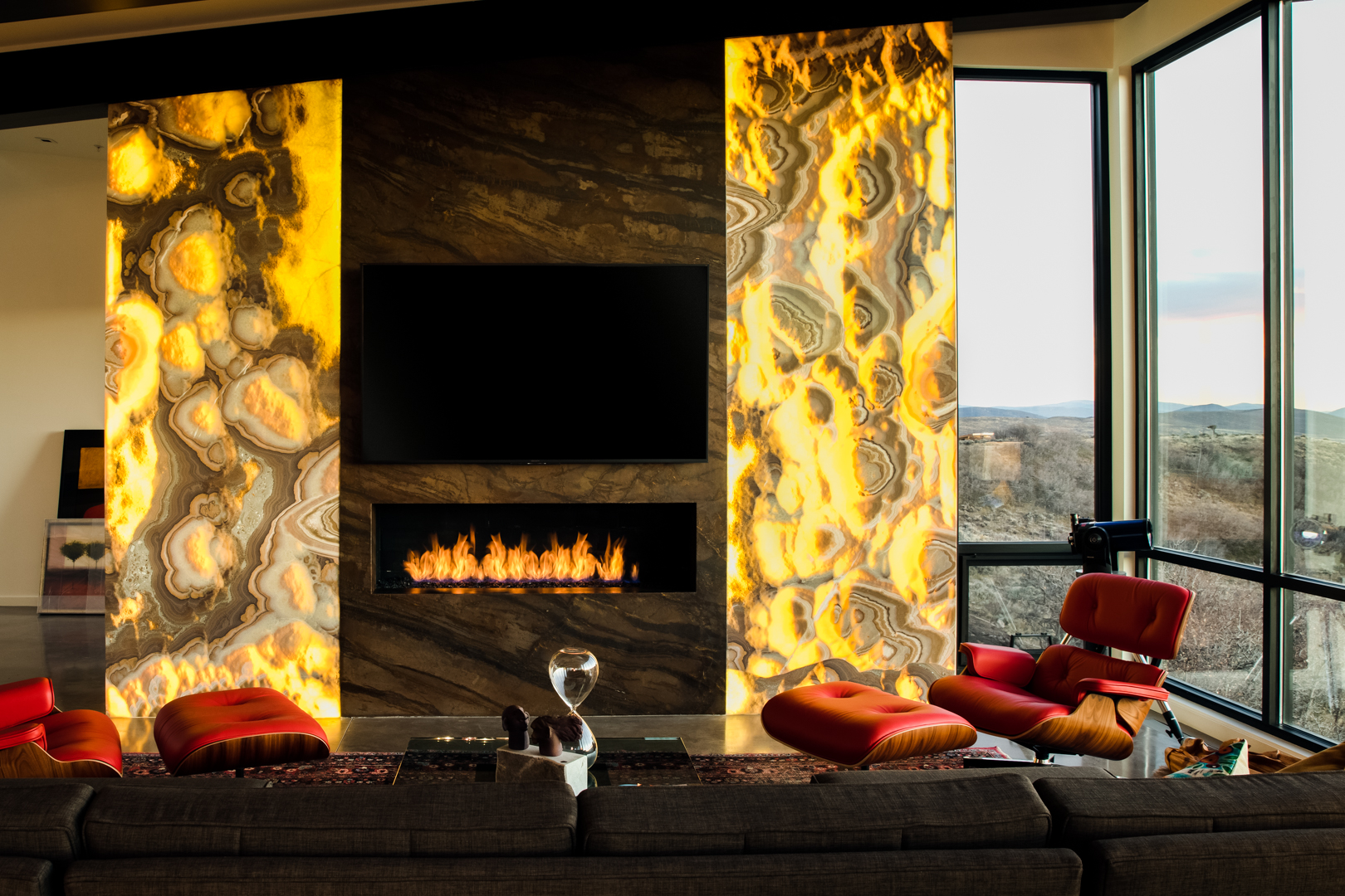 Backlit Onyx Fireplace Feature Wall In Park City Utah