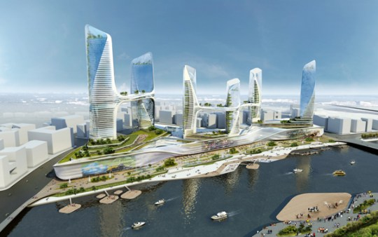 UNStudio Desings New Attraction For China   Waterfront For Tongzhou     UNStudio  China  waterfront  Tonghzou  Beijing  sustainable design  towers   high