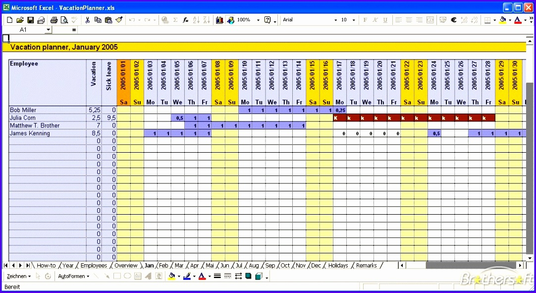 2014 employee vacation schedule template