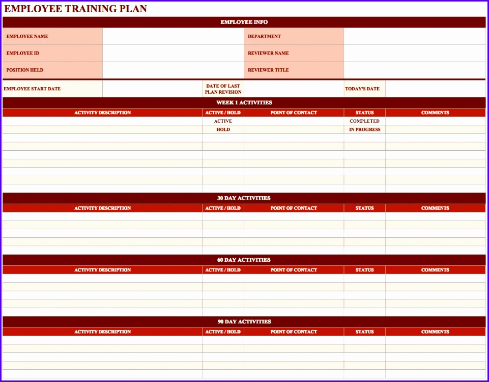 12 30 60 90 Plan Template Excel Exceltemplates