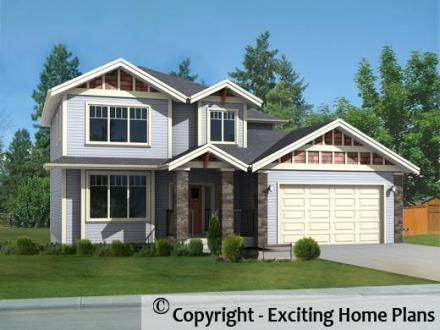Modern House  Garage   Dream Cottage Blueprints by Exciting Home Plans Meadow Lake   Front View of House