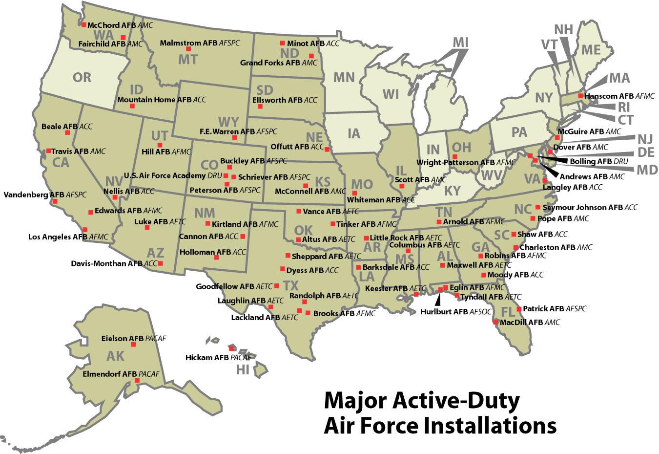 World Map Us Air Force Base