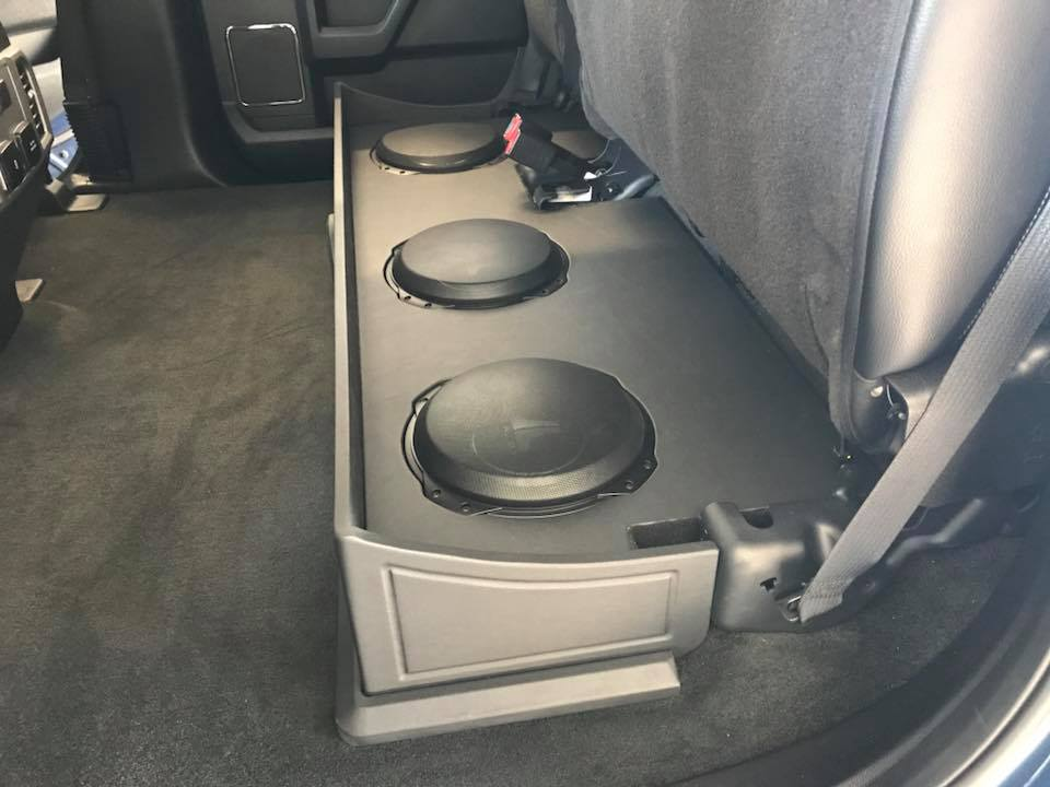 Ford F 250 Under Rear Seat Subwoofer Box Installation With