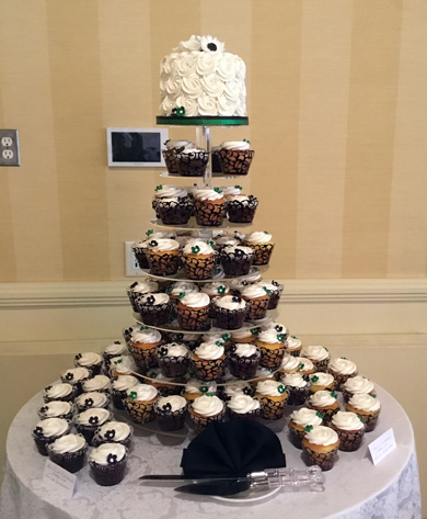 Exquisite Wedding Cakes York PA  Wedding Cake Bakery York PA near     Emerald green and black themed small wedding cutting cake and cupcakes  delivered at The Outdoor Country