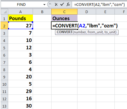 How to quickly convert pounds to ounces/grams/kg in Excel?