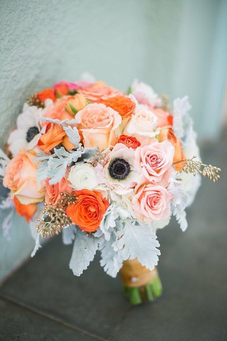 8 Grey And Peach Wedding Bouquets Peach Wedding Bridal Bouquet