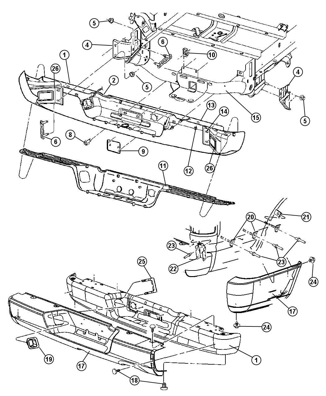 Dodge ram bumper diagram