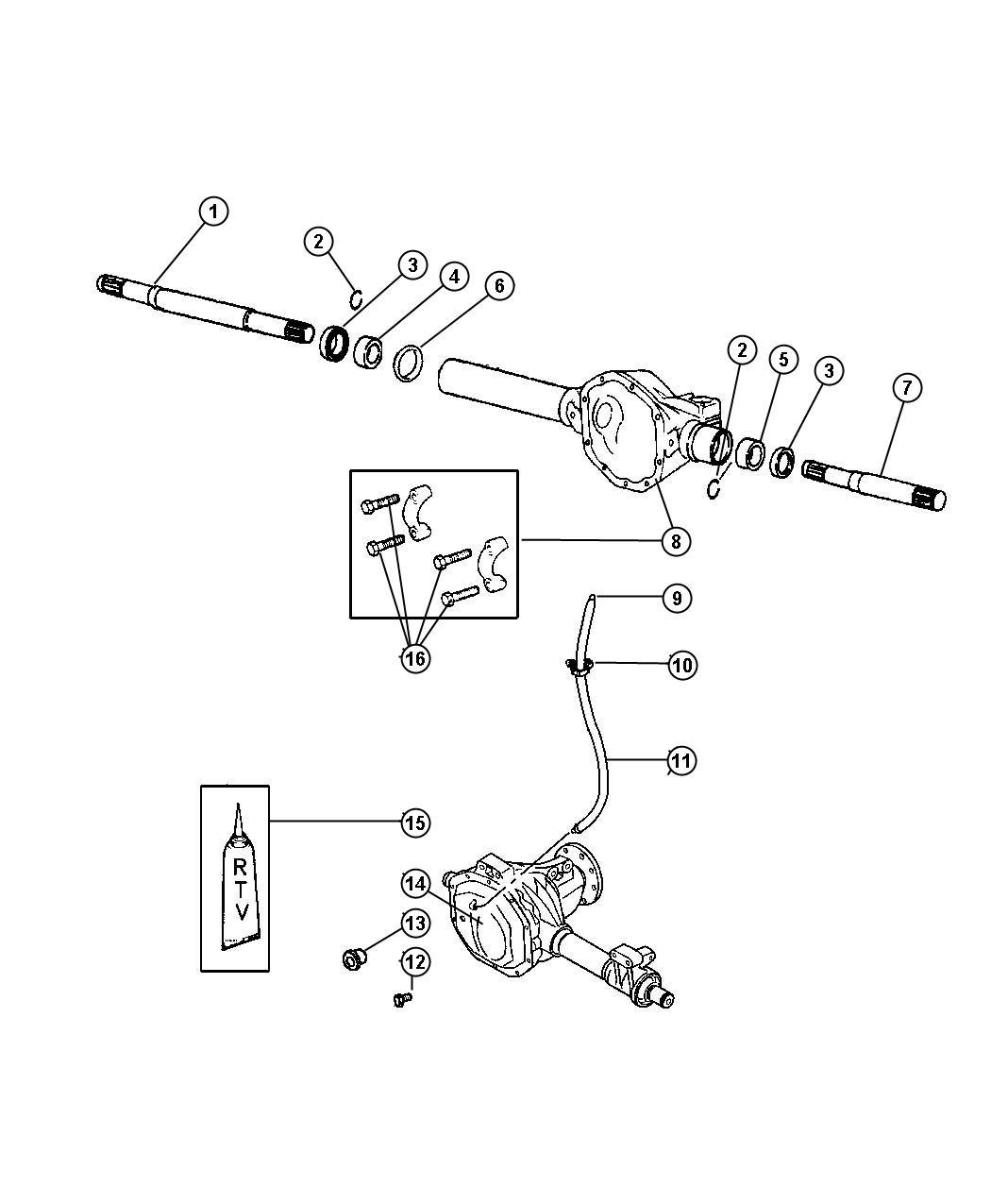 Dodge 4x4 Front Axle Parts Diagram