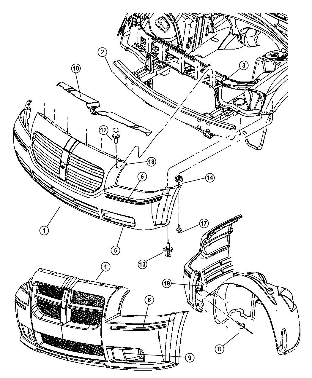 Dodge caliber front bumper diagram on engine wiring harness 1996 mercedes c220