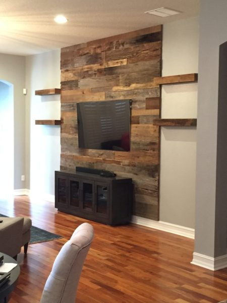 Trevor s Reclaimed Barn Wood Accent Wall with Shelving   Fama Creations     orlando barn wood accent wall with shelves