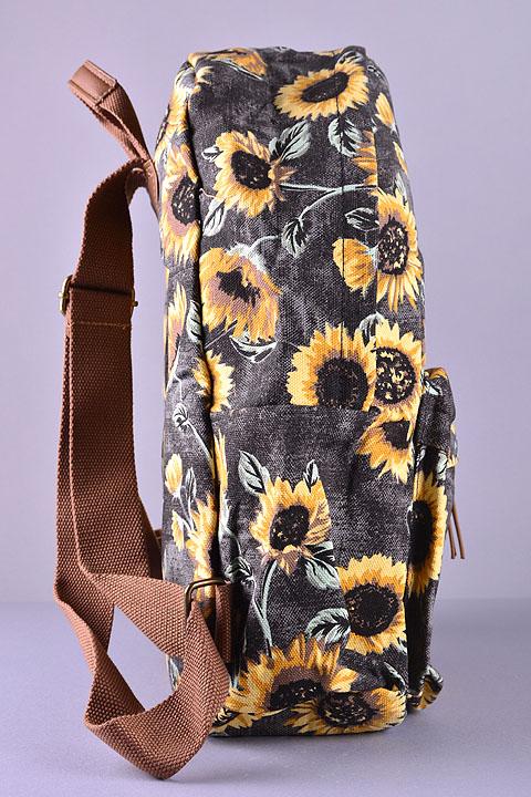 Black Sunflower Print Backpack Backpacks